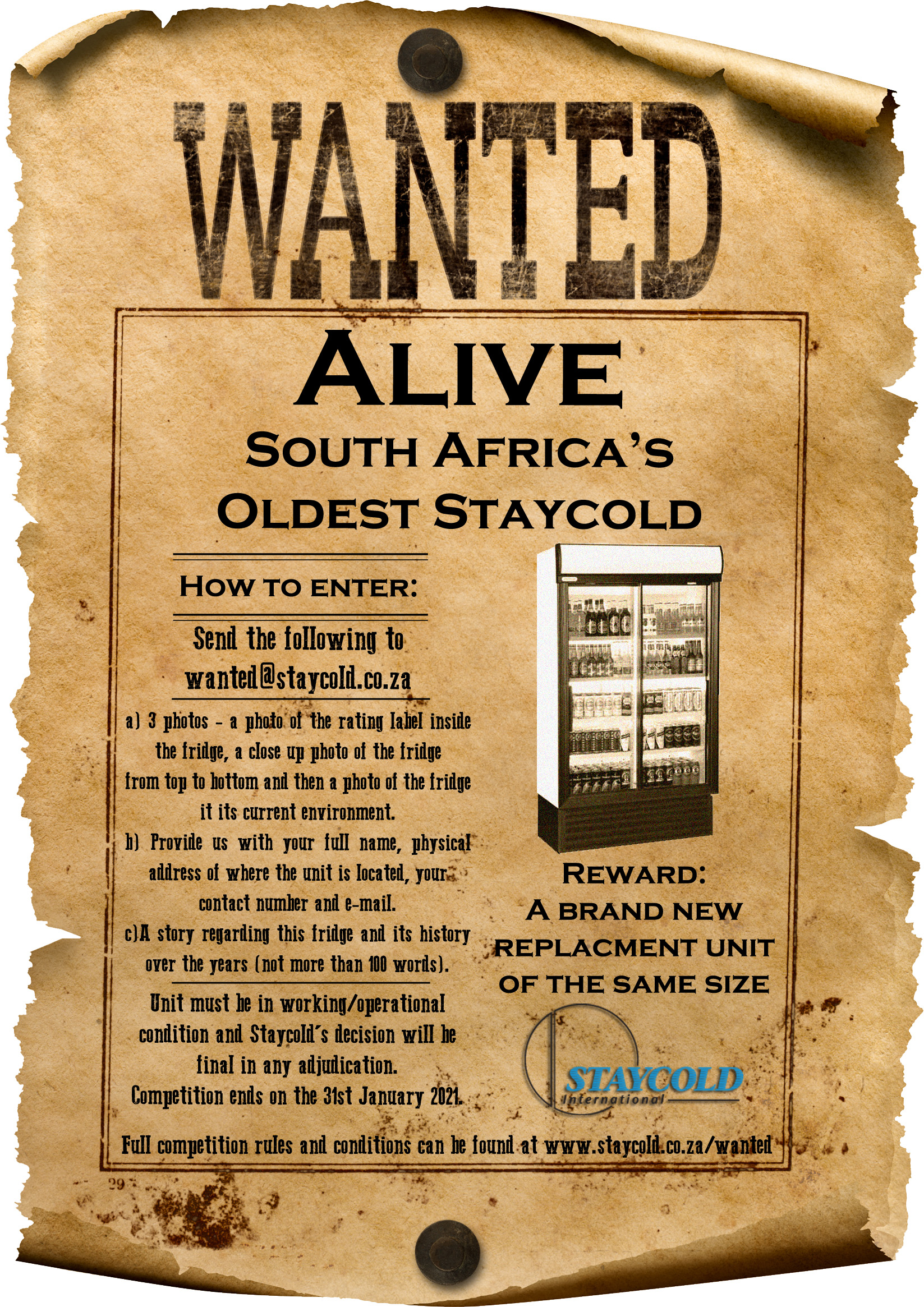 Wanted - South Africa's oldest Staycold